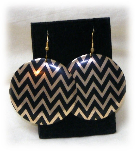Gold & Black Chevron Design Earrings