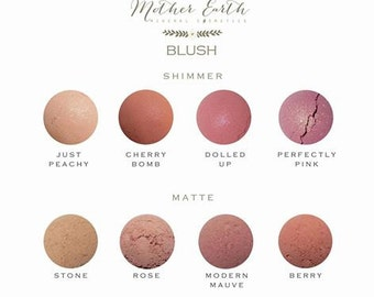 SAMPLE SIZE - All Natural Mineral Blush -  Matte - Shimmer -Beauty Care - Vegan - Gift Idea - Cosmetics - Makeup - Women - Organic - Cheeks