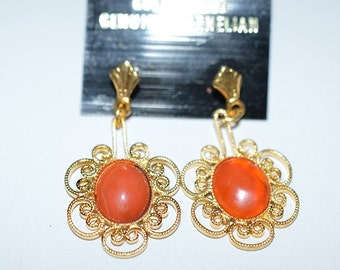 Vintage, Elegant Carnelian Filigree Earrings (1017378)