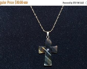 EARLY CHRISTMAS SALE Vintage,Natural Tigereye Anhk Necklace with Rhinestone  (1050010)