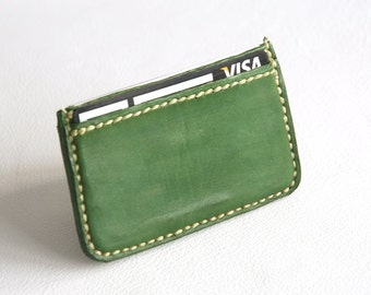 Green business card holder, Leather Card Holder, Card holder, Business card case, Business card, Man gift, Woman gift, Card case, Cowhide.