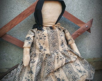 Carrie ~ A Primitive Folk Art Colonial Doll