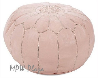 Sale-Natural Moroccan Leather Pouf / Ottoman