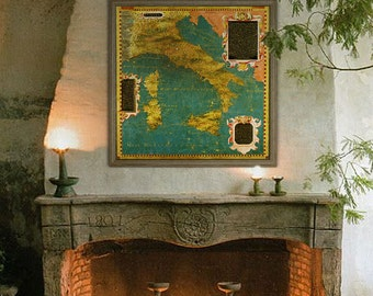 "Map of Italy 1578, Old Italy map 4 sizes up to 36x36"" (90x90 cm) Rare renaissance painted map of Italy (1578) - Limited Edition of 100"