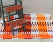 Chunky Orange & White Hand Woven Rag Rug, Kitchen Rag Rug, RV Rag Carpet, Washable Bath Mat, Door Mat, Porch Rug, Pot Holder Style Rag Rugs