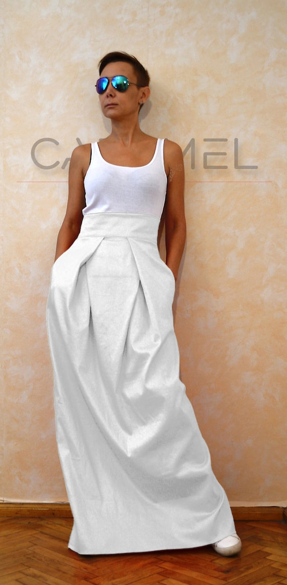 White Skirt High Waisted Skirt Wedding Skirt Cotton Skirt