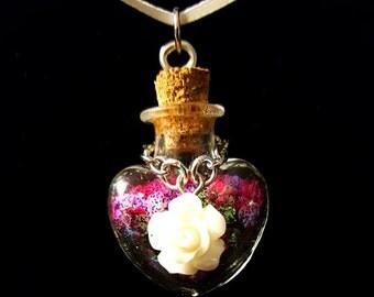 Hot Punky Rose and Glitter Heart Pendant