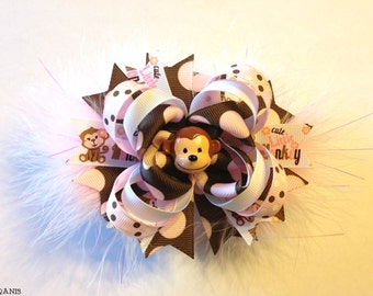 Cute Little Monkey Stacked Boutique Bow