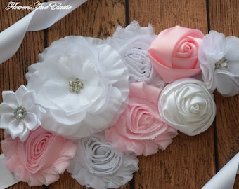 Sash, White and Pink Sash , flower Belt, maternity sash