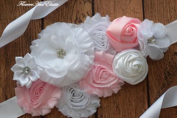 Sash, White and Pink Sash , flower Belt, maternity sash