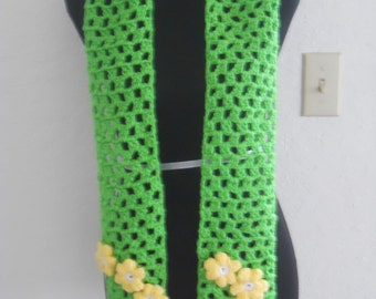 Green scarf with yellow flowers (code INTFREESHIP17 for international free shipping exp 5/31/17)