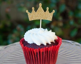 Crown Cupcake topper, 12 pack crown cupcake toppers