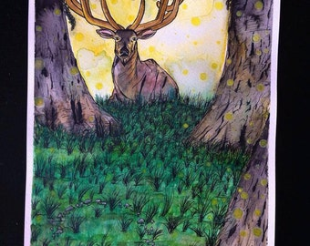 MAGICAL FOREST watercolor/Ink