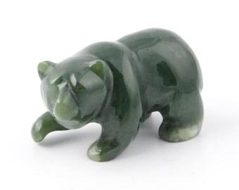 Canadian Nephrite Jade Carving, Bear Walking 054