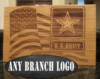 Army emblem and American flag design, also available in USMC Marine Corps, Navy, Airforce, Coastguard cutting board