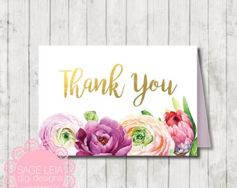 Custom Printable Burgundy Purple Violet Peonies Ranunculus  Floral Bridal Shower Birthday Gold Thank You Card