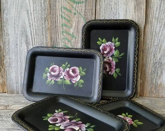 Vintage Metal Trays with Flowers Painted, Vintage Kitchen Tray with Painted Lavender Flowers