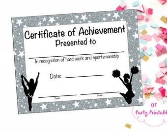 Cheerleading Certificate - Cheerleading Award - Cheerleading DIY - Cheerleading Printable - Cheerleading Achievement - End of Season Award