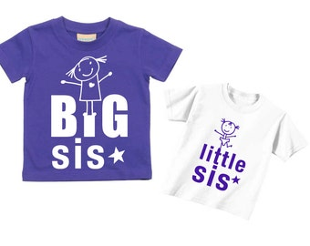 Sister Tshirts Big Sis Little Sis Purple T Shirt Set Available in Sizes from 0-6 Months