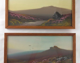 Reginald D. Sherrin, pair of landscapes, Dawn & Dusk in the Moorlands, gouache on board