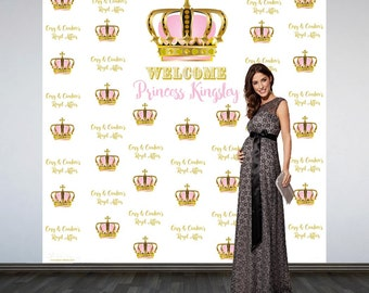 Royal Baby Shower Personalized Photo Backdrop - First Birthday Princess Photo Backdrop-Little Princess Photo Backdrop, Step and Repeat
