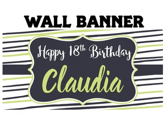 Fun Stripes Birthday Banner  ~ 18th Birthday Personalize Party Banners - Large Photo Banners