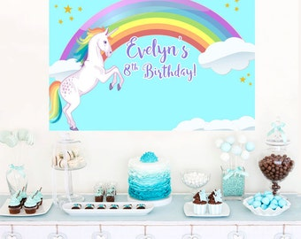 Rainbow Unicorn Personalized Party Backdrop - Birthday Cake Table Backdrop Birthday- Baby Shower Backdrop