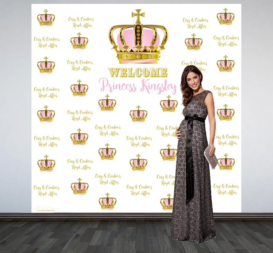 Royal Baby Shower Personalized Photo Backdrop First Birthday