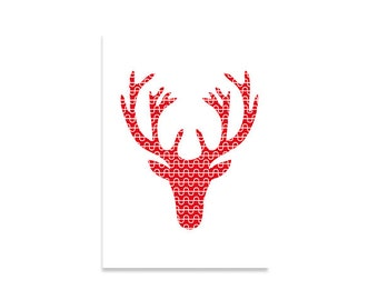 Illustration art print, deer, Original designed letter pattern, Printed art, Scandinavian design, Red, White, Scandinavian art, Nordic style
