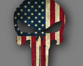 Punisher American Flag Die Cut Vinyl Decal Sticker
