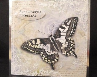 Stunning Butterfly 3D Handcrafted Decoupage Card - Birthdays, Get Well, Mother's Day or Just to say Thank You