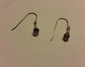 Vintage Pearl Purple Earings Dangle Drop Jewelry