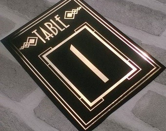Wedding Table Numbers. Art Deco Black and Gold Table Settings. Great Gatsby Themed A5 Table Number Cards. Hollywood Glamour. Dinner Party.