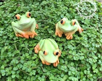 set of 3 fairy garden frogs, miniature tree frog, tiny frog, miniature garden frog, miniature frog, fairy supplies, fairy garden accessories