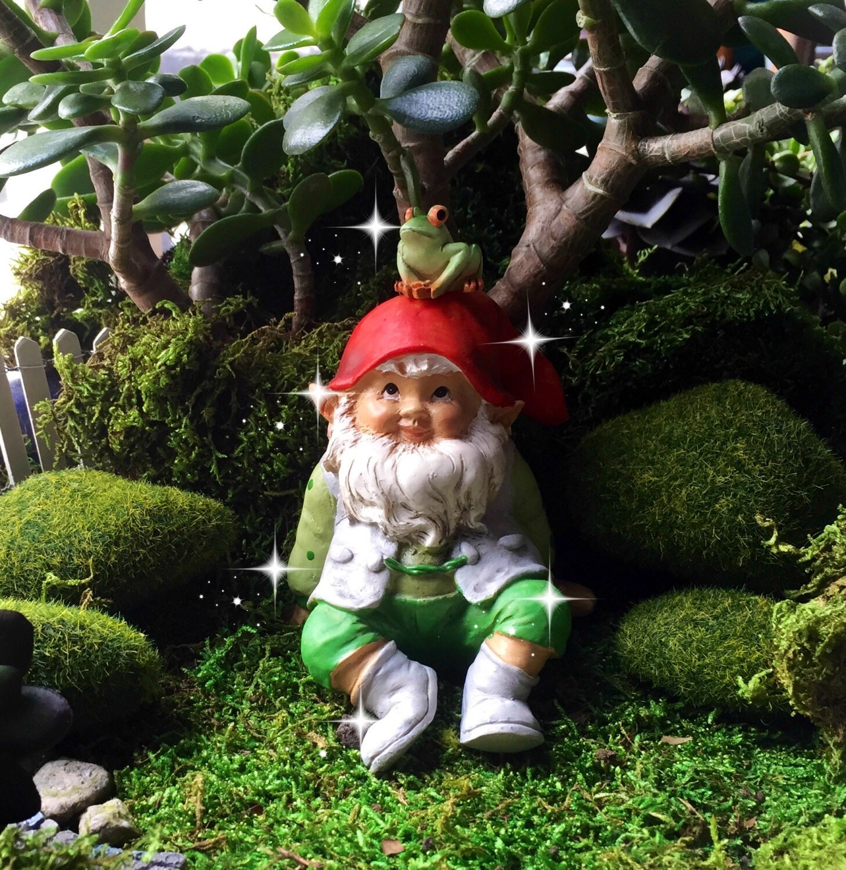Gnome In Garden: Fairy Garden Gnome Miniature Garden Gnome Mini Gnome Small