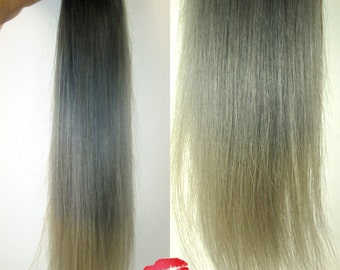 """8A Remy Human Hair Extensions Weft Weave Bundles 1b Black Dark Root into Grey into Blonde Silver 2 / 3 / 4 bundles 8""""-26 100g - 400g"""