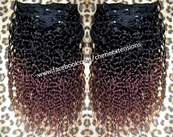 Kinky Curly Curl Brazilian ombre Dip Dye Human Double Weft Clip In Hair Extensions     #1B Off Black  #4 Chestnut