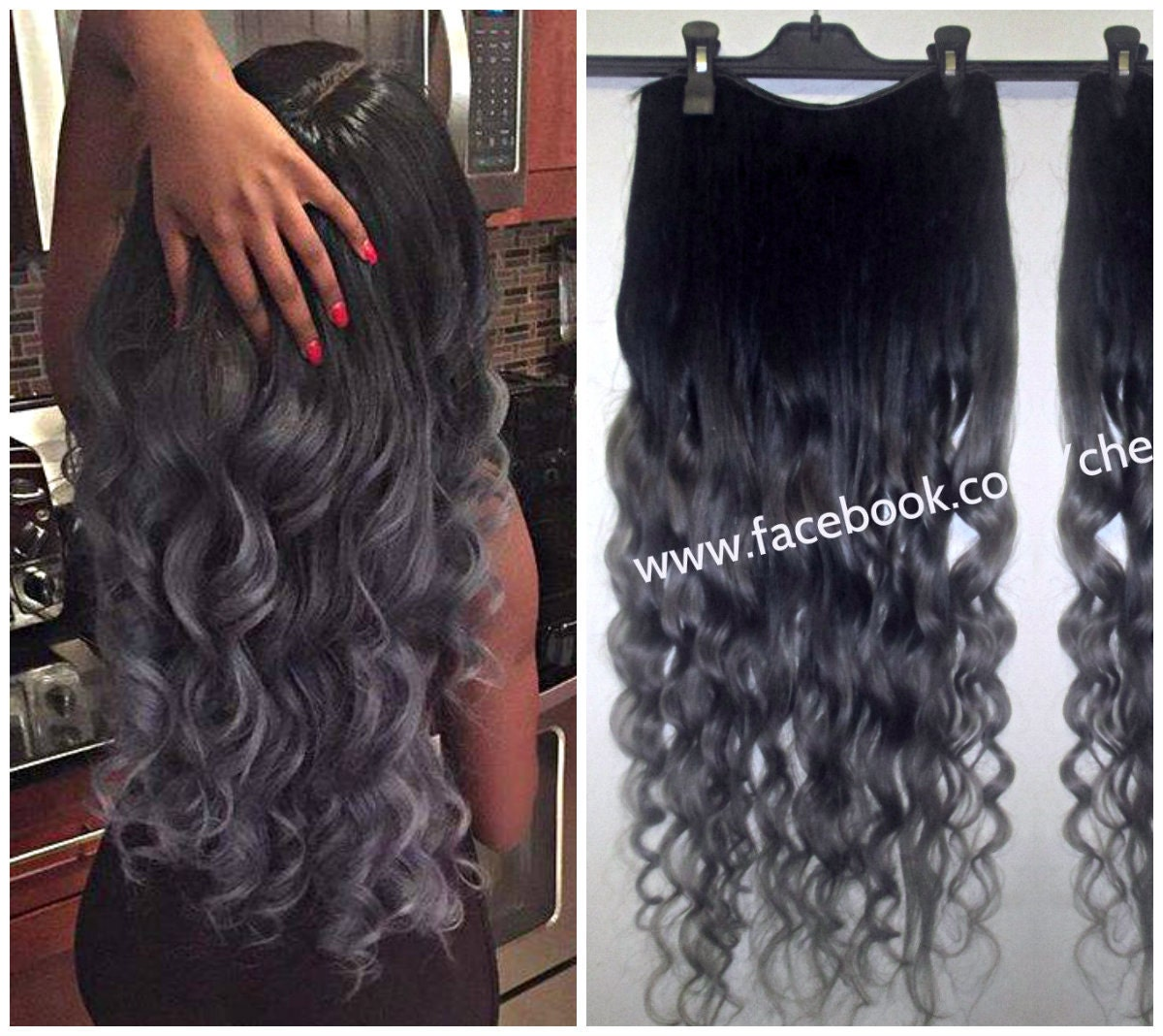 Ombre balayage human clip in 8pc hair extensions 1b off black zoom pmusecretfo Image collections