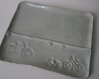 Bicycle  Tray - porcelain - white - functional art - pottery - stamped