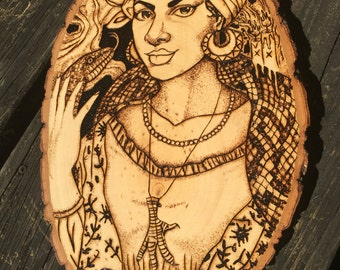 "MARIE LAVEAU LOUISIANA Voodoo Priestess - On 11"" x 8"" Wood Slice With Bark"