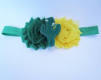 Cactus Headband, Cactus Shabby Headband, Baby Headband, Green Shabby Headband