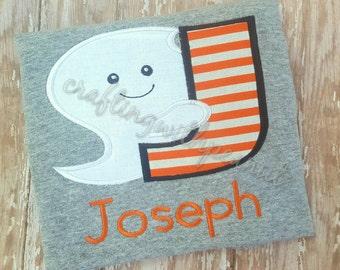 Ghost alphabet shirt, Halloween shirt, applique ghost shirt, personalized halloween shirt, personalized tee, ghost shirt, pumpkin shirt