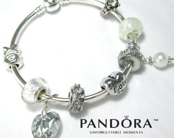 Authentic Pandora, with Marriage/Engagement Theme, Pandora Bangle Bracelet, Pandora Wedding Theme Bracelet,