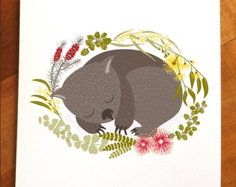 Wombat card, sleepy Australian animal greeting card, native florals, Australiana