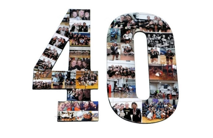Number 40 Photo Number Collage Picture frame College Sport 40th Wedding Anniversary 40th ...