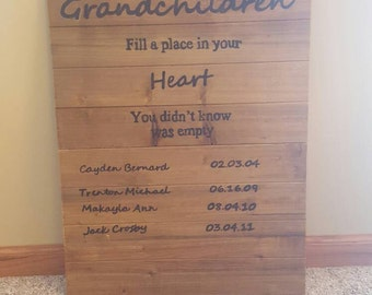 Grandchildren fill a place in you're heart, you didn't know was empty wooden sign.