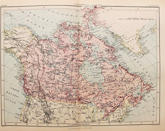 Antique Map of Canada, Encyclopedia Britannica, 1870s