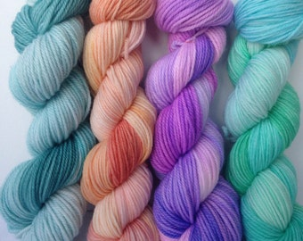 200gm 4 colour hand dyed multi pack, ausralian wool, dyed to order