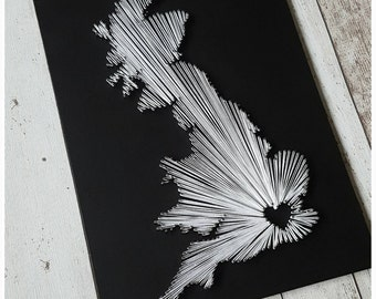 Personalised UK String Art, Handmade, Custom Made String Art, Map of United Kingdom, String Art Gift, Home Decor, Unique Gift