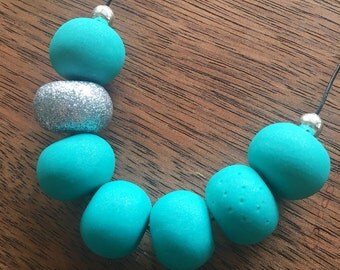 Turquoise and Silver Glitter Clay Necklace